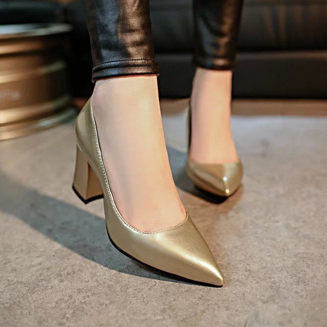 2017 Wiosna Nowa Partia Simple Wskazal Buty Grube Wysokie Obcasy Buty Damskie Czolenka Buty Asakuchi Buty Na Wysokim Obca Leather Shoes Woman Heels Bride Shoes
