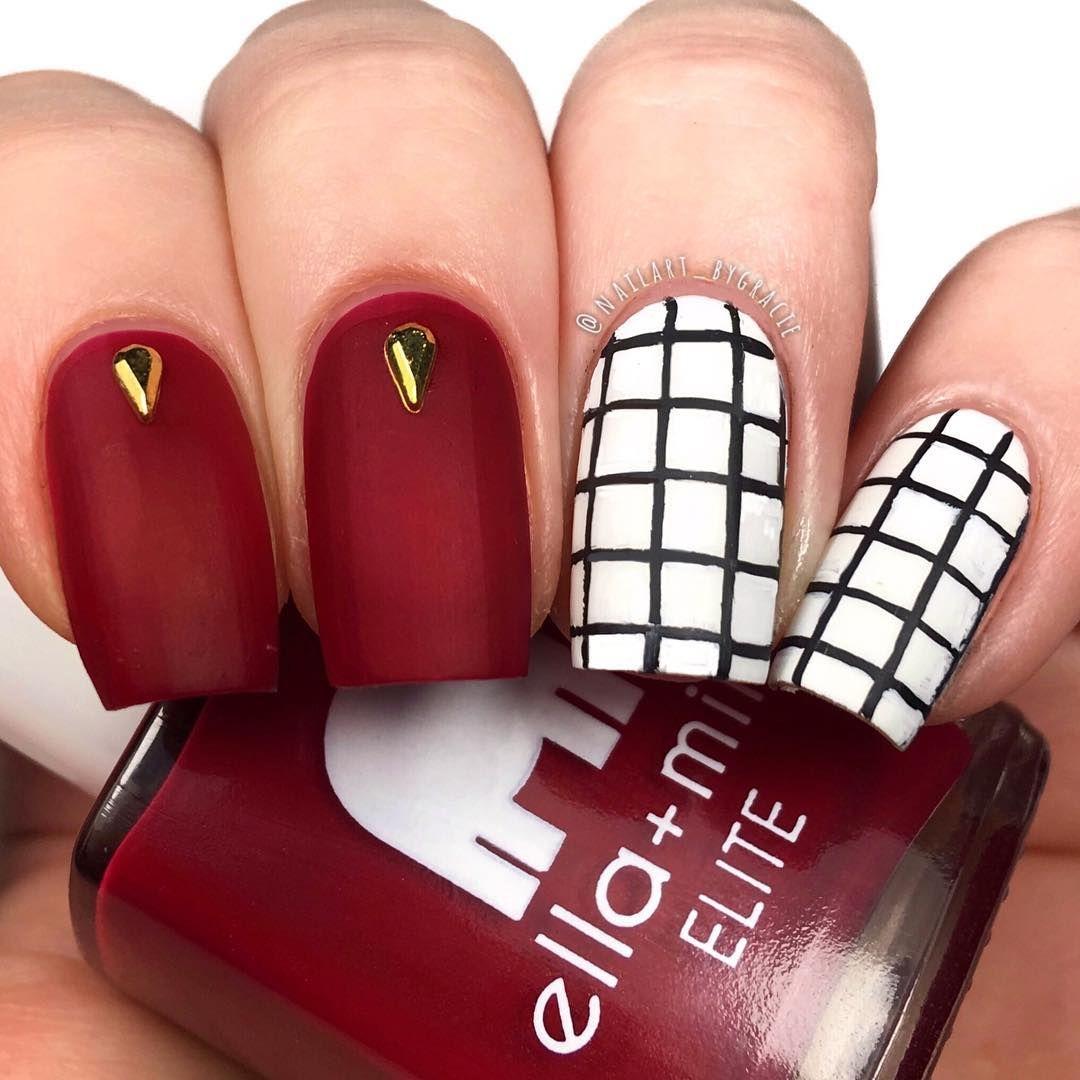 Simple Grid Nails Polishes Use Nail Polish Nails Swag Nails