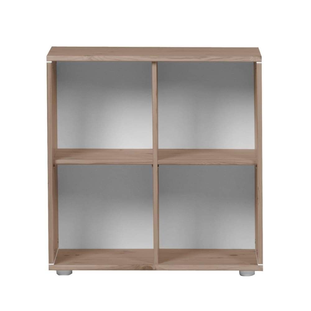 Bookcase with 4 compartments incl. fittings for wall mounting and feet.