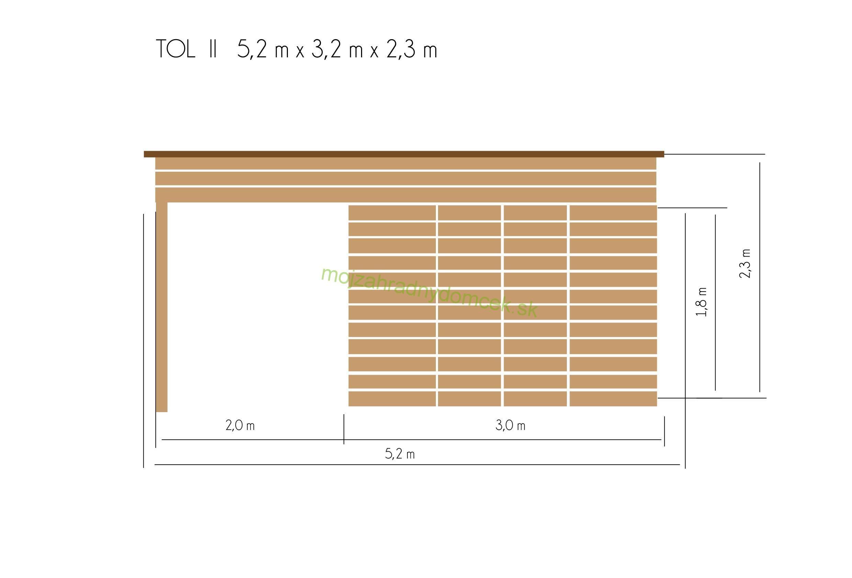03166340f3ae1 Domčeky a chatky s TERASOU | Záhradný drevený domček s terasou TOL II 9m2 +  6m2