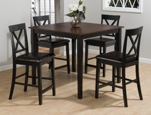 Burly Brown Black Finished 5 Piece Counter Height Dining Set By