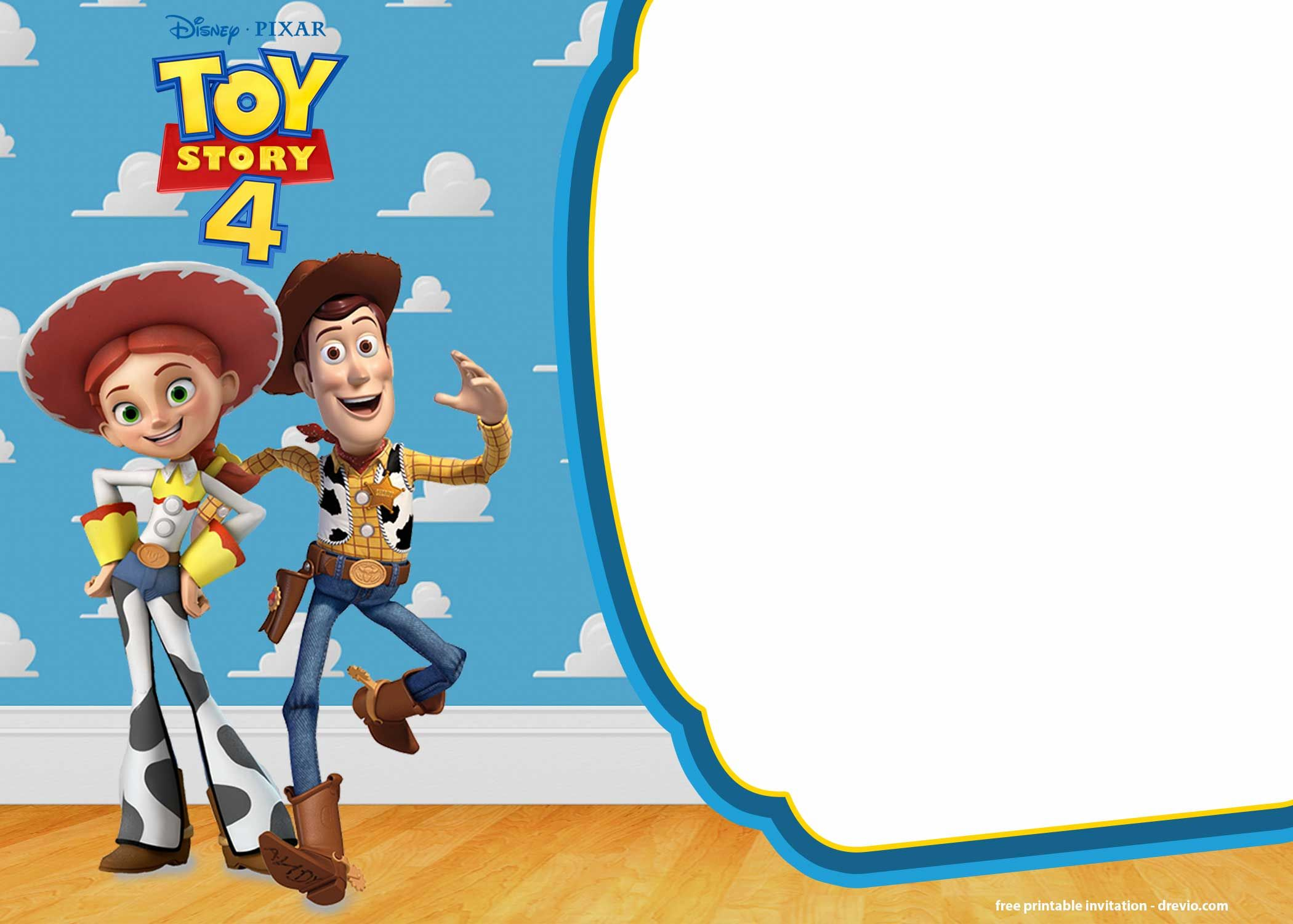 Free printable toy story 4 invitation templates toy
