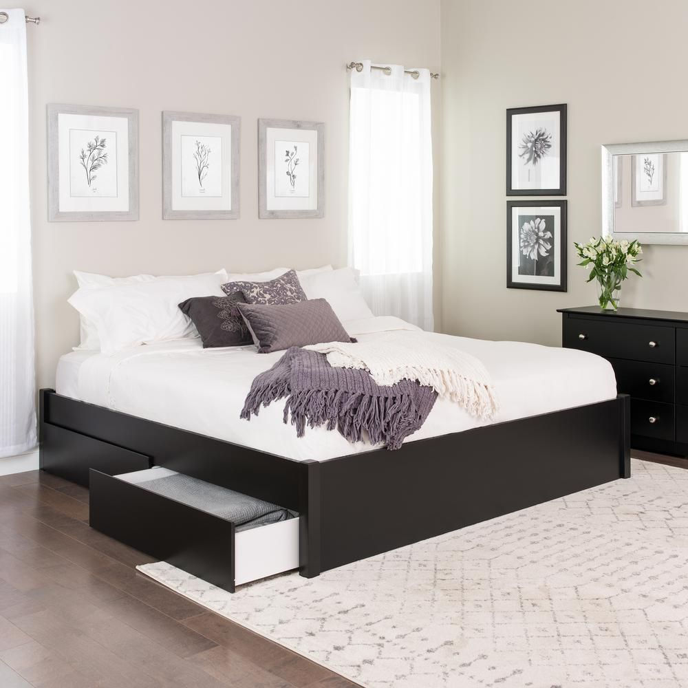 Prepac Select Black King 4 Post Platform Bed With 4 Drawers In