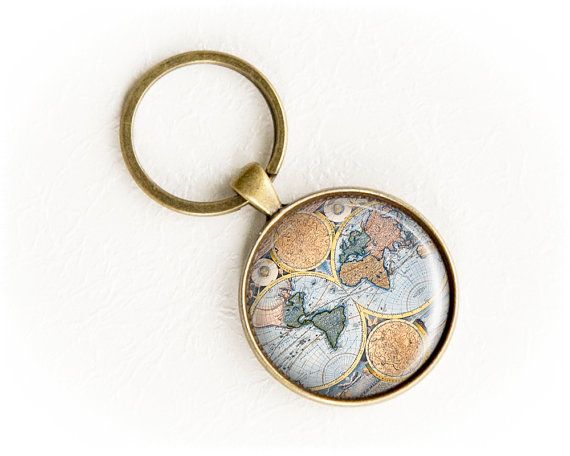 World map keychain gift for traveller vintage world map keyring world map keychain travel gift vintage world map keyring long distance gumiabroncs Gallery