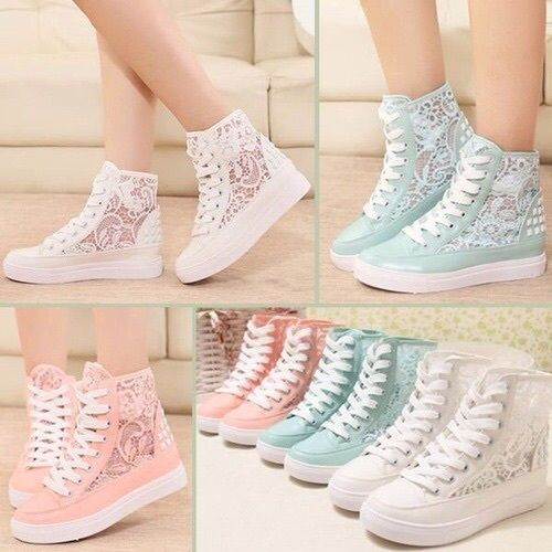 2016 Fashion Womens Hidden Wedge Heel ANkle Boots Lace Up Sneaker Trainer Travel