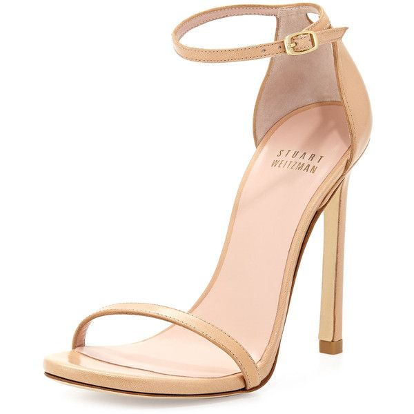 eec2f829fc07 Stuart Weitzman Nudist Leather Ankle-Strap Sandal ( 420) ❤ liked on Polyvore  featuring shoes