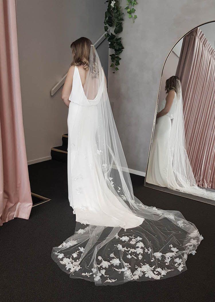 Night Garden Floral Cathedral Wedding Veil Tania Maras Bespoke Wedding Headpieces Wedding Veils Dramatic Wedding Dress Diamond White Wedding Dress Sequins Wedding Gown [ 1050 x 750 Pixel ]