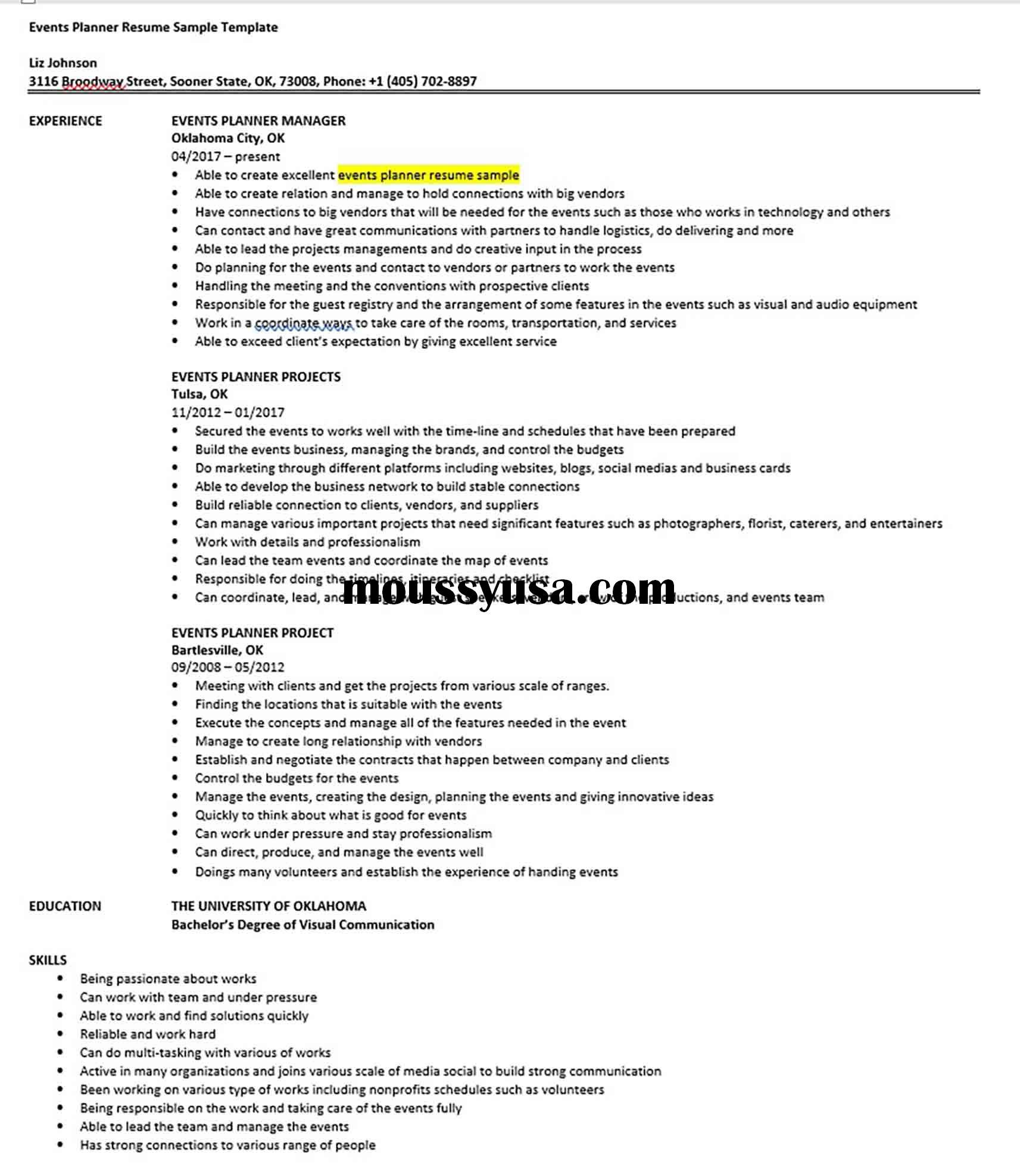 Events Planner Resume Sample Template Events Planner
