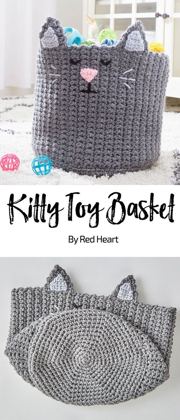 Kitty Toy Basket free knit pattern in Super Saver Chunky yarn. Keep ...