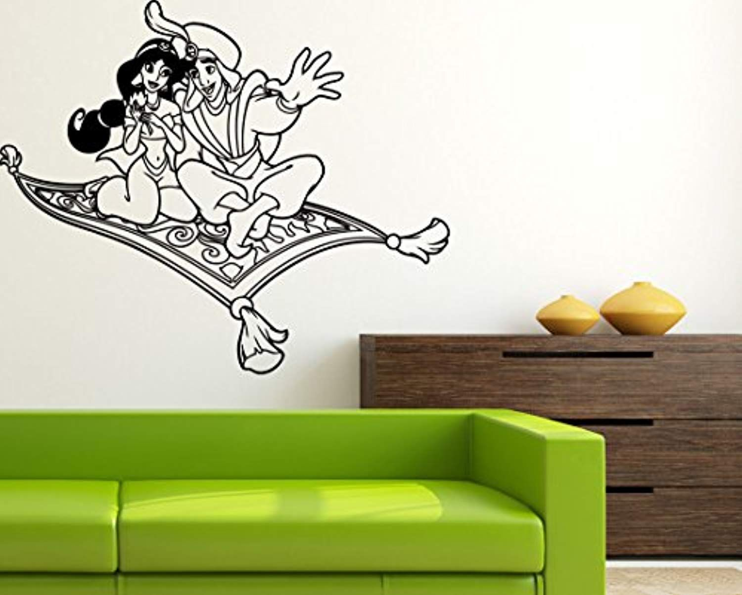 Aladdin Jasmine On Magic Carpet Wall Sticker Walt Disney Cartoon