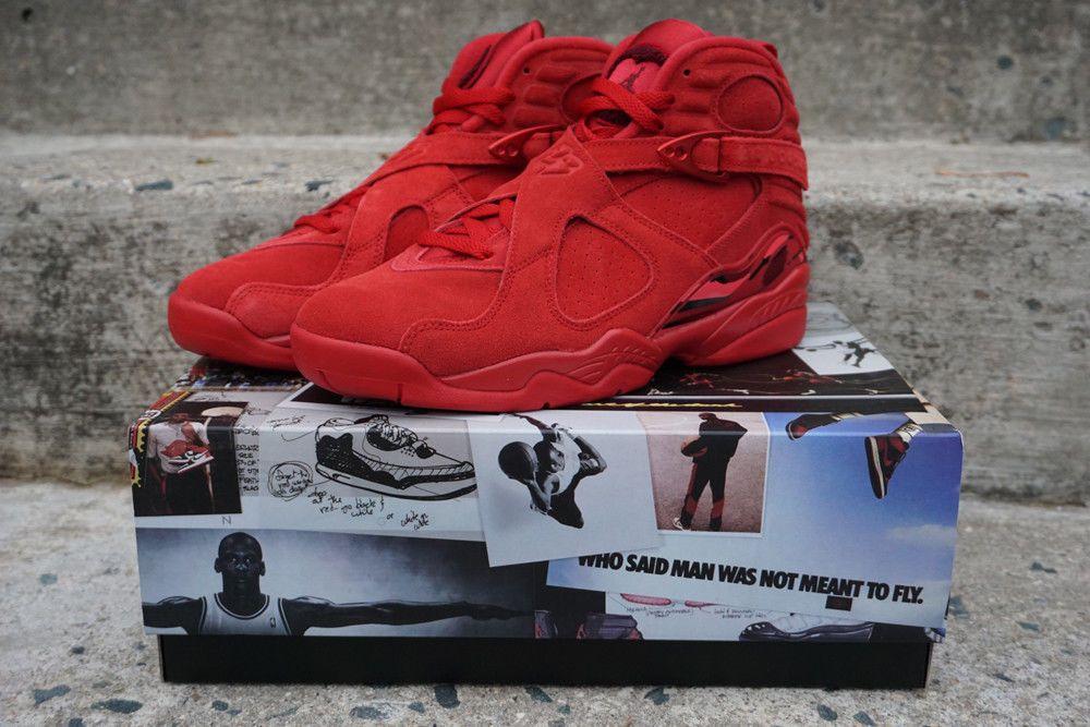 5f3c13b4abc Nike Air Jordan Retro 8 VIII Valentines Day AQ2449-614 Gym Red Suede WMNS 9  #Nike #HighTop