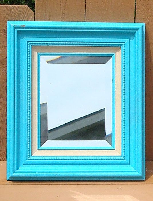 Vintage Wooden Frame with Beveled Mirror