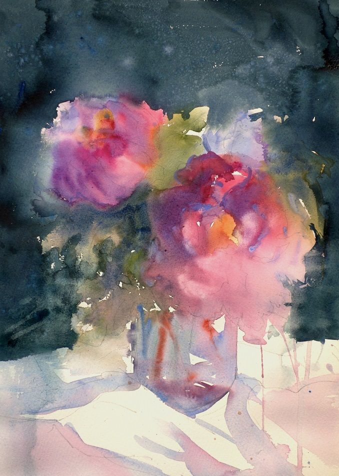 Watermill painting tutor Sarah Yeoman's picture Peonies and the Moon. More at http://www.watermill.net/painting-holidays/painting-holidays-tutor-sarah-yeoman15.php