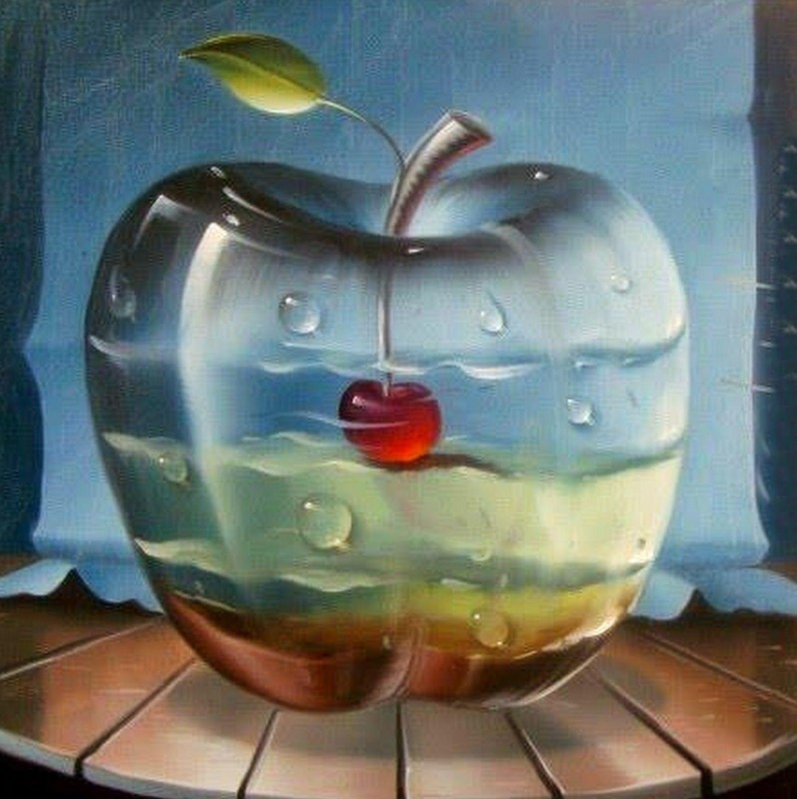Cuadros de bodegones en paisajes pintados en hiperrealismo for Cuadros pintados al oleo