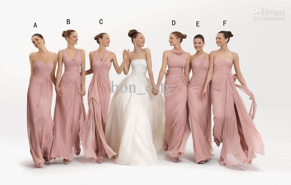2013 Mix Order Bridesmaid Dresses Coral Chiffon Floor Length Sheath ...