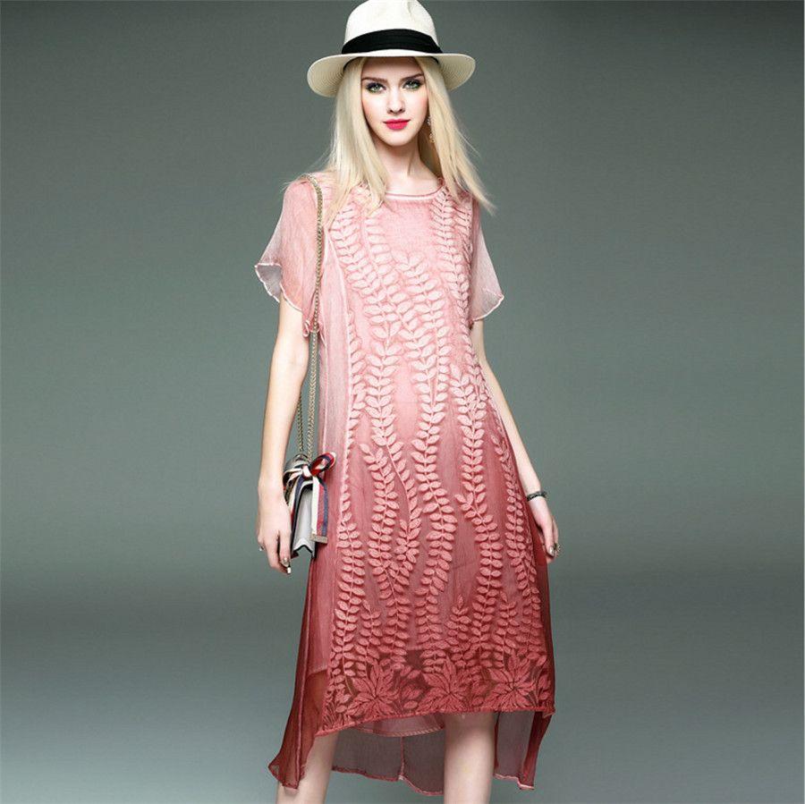 Ode To Joy]Luxury brand 100%Silk women summer dress short sleeve ...