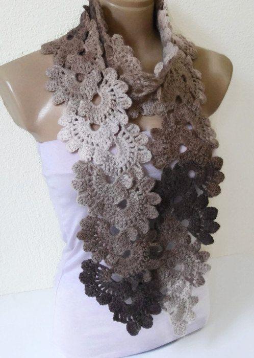 Crocheted coffee cream beige Lace scarf por likeknitting en Etsy ...
