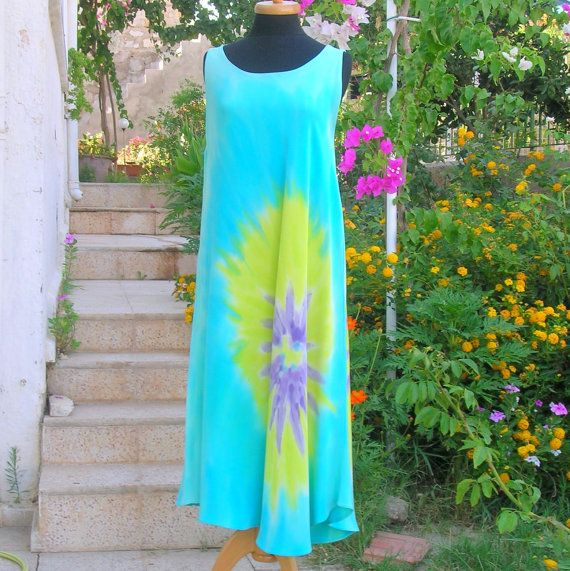 Handpainted Turquoise Maxi Caftan Dress, Pure Silk, Elegant Comfortable Clothing on Etsy, $250.00