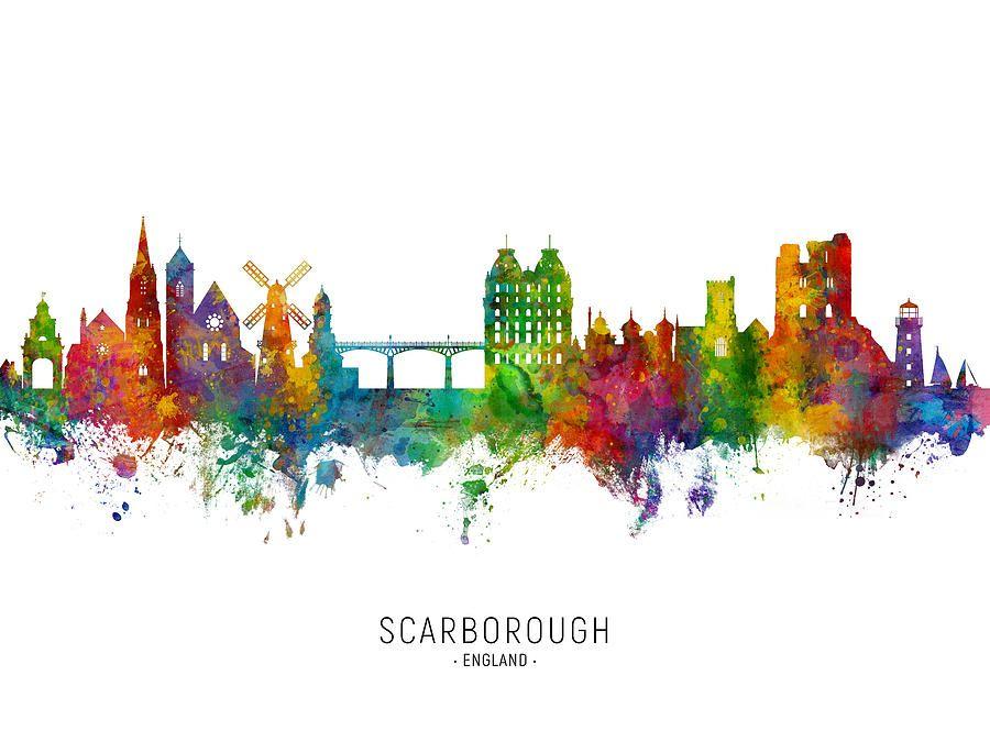 Digital Art - Scarborough England Skyline by Michael Tompsett #affiliate , #AD, #AFFILIATE, #Scarborough, #England, #Tompsett, #Art