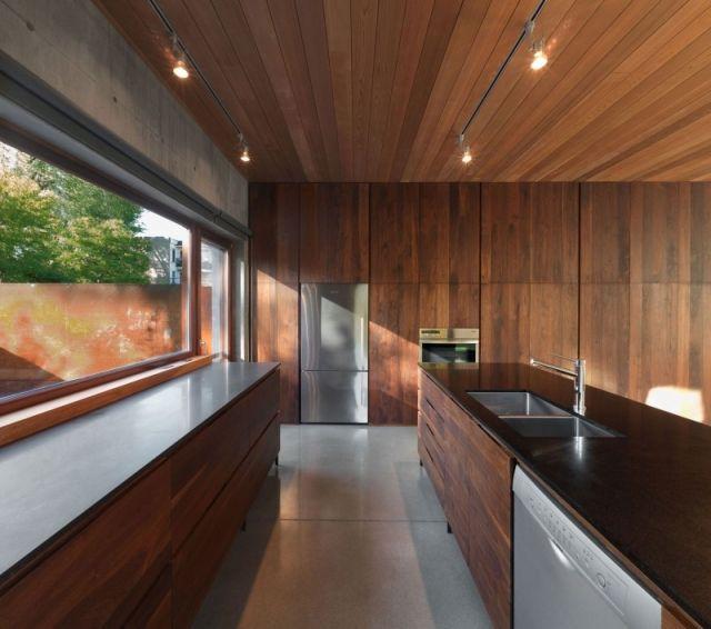 einbau Küche-gestalten deckenleuchten Holz-Täfelung Wanddesign - deckenleuchten für die küche