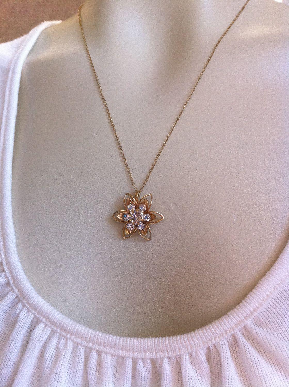 Dainty small gold tone rhinestone flower lotus rose
