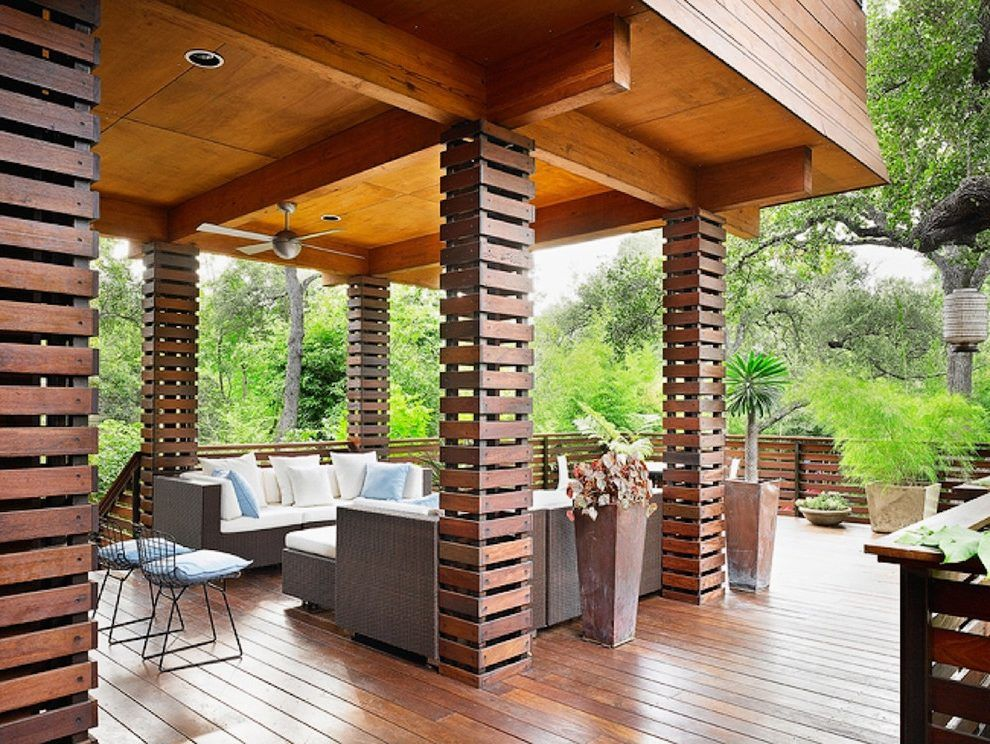 Cement Board Column Wrap Ideas Deck Asian With Exposed Beams