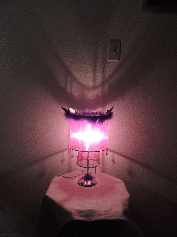 Unique Princess Accent Lamp Light Pink and Purple Chiffon ...