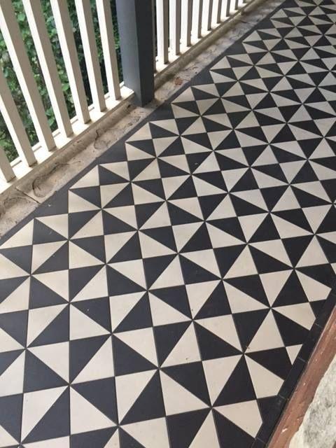Antique Victorian Hall Floor Encaustic Triangle Tiles
