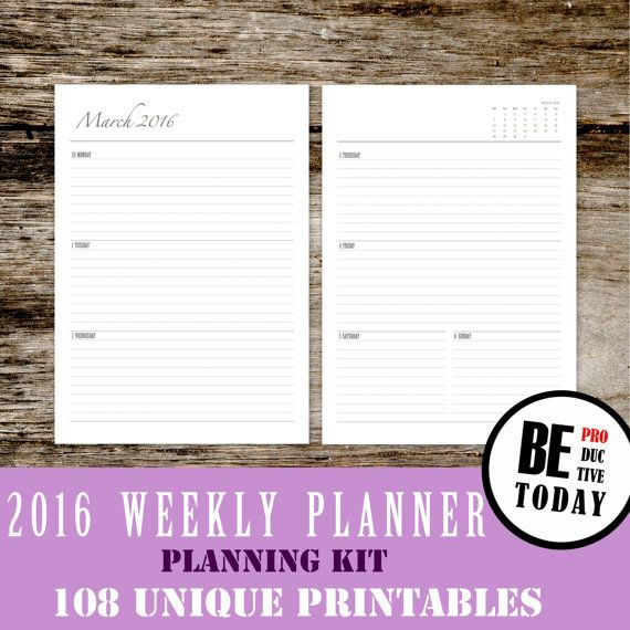Dated Weekly Planner 2016, Weekly Planner 2016, Weekly Agenda 2016 - weekly agenda