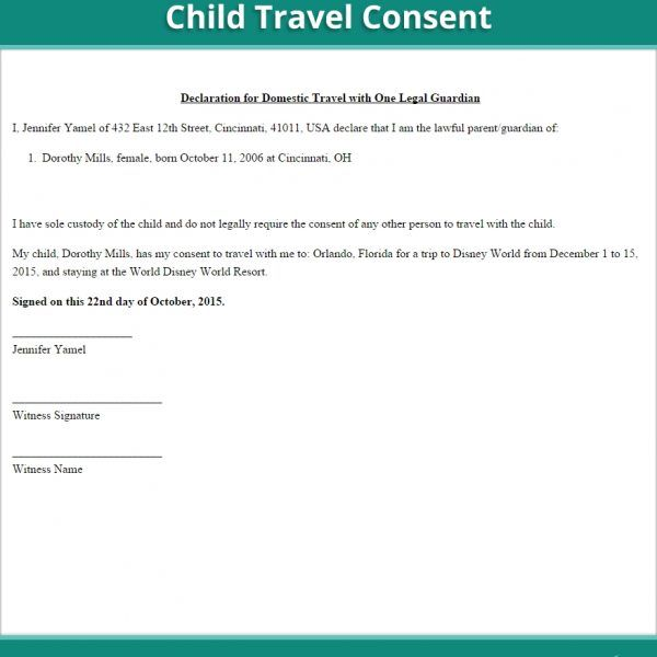 Child Travel Consent Form Free Minor Letter Permission For   Travel Consent  Form Sample  Parental Travel Consent