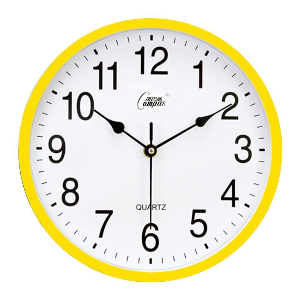 Kaimao 10 Stylish Non Ticking Quartz Silent Sweep Wall Clock For Bedroom Living Room Kitchen And Office Yellow Bedroom Wall Clock Clock Wall Decor Clock