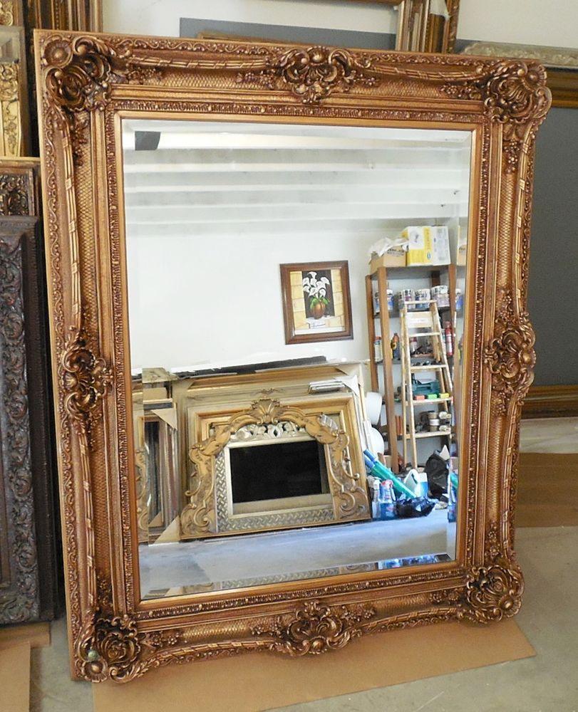 large woodresin louis xv 60x60 rectangle beveled framed wall mirror