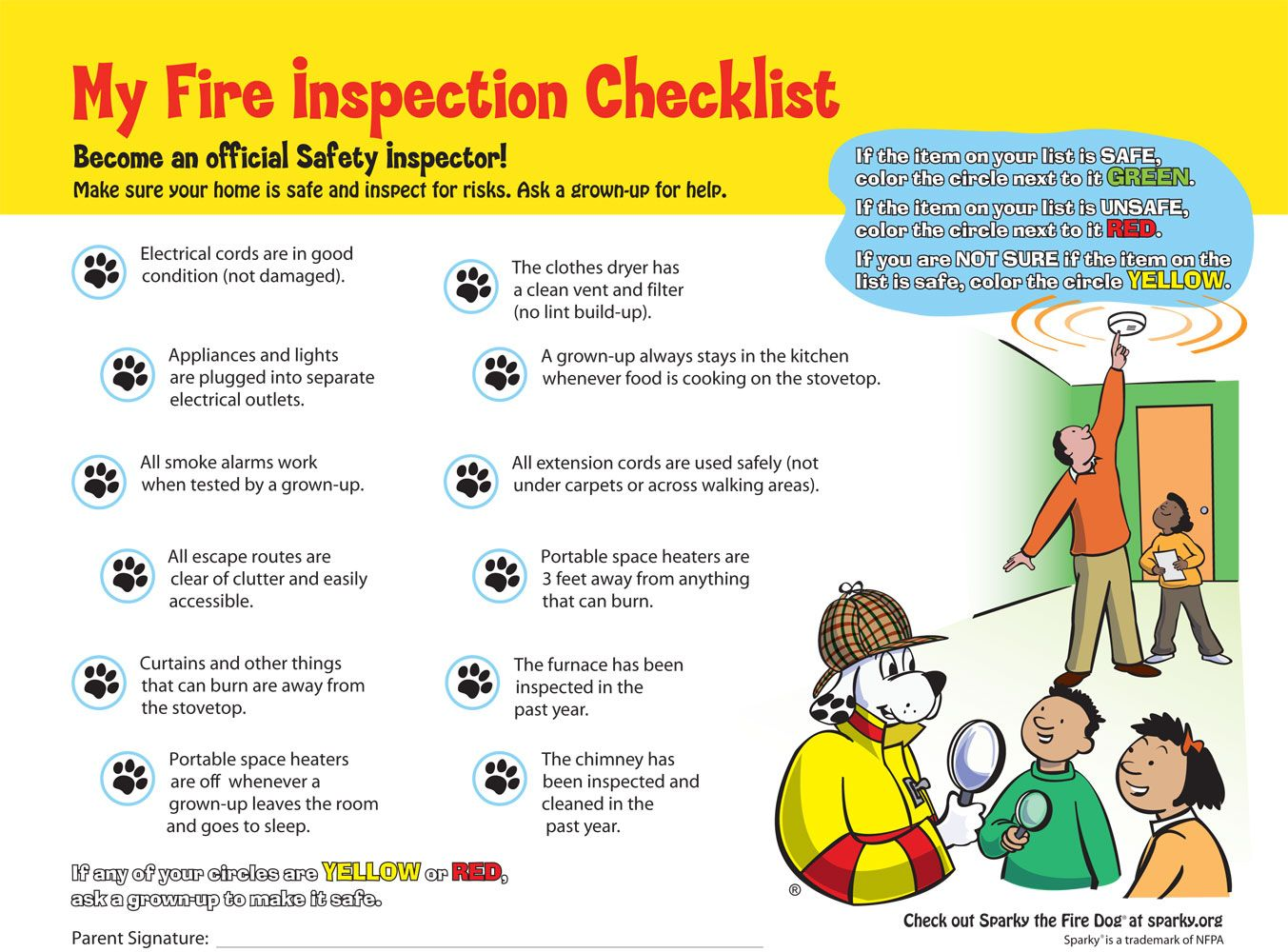 Here is a great fire safety checklist to do with your for Fire prevention tips for home