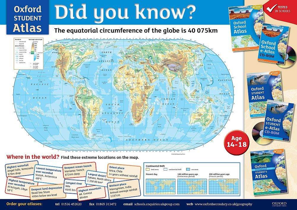 Did you know the equatorial circumference of the globe is 40 075 km the equatorial circumference of the globe is 40 075 km oxford student atlas world map geography teaching and learning gumiabroncs Images
