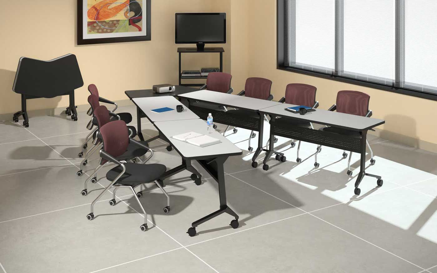 Office Tables On Wheels. V-Shaped Conference Table Configured From ...