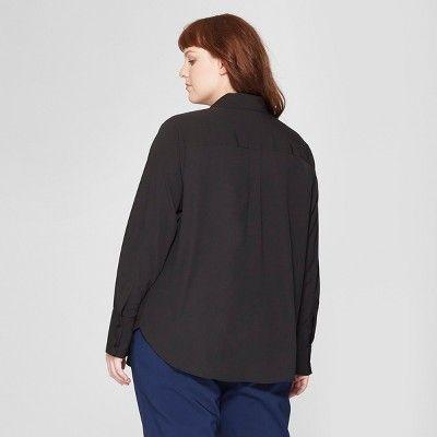 24efd7dd9 Women's Plus Size Long Sleeve Collared Button-Down Blouse - Prologue? Blue  2X #Long, #Sleeve, #Women