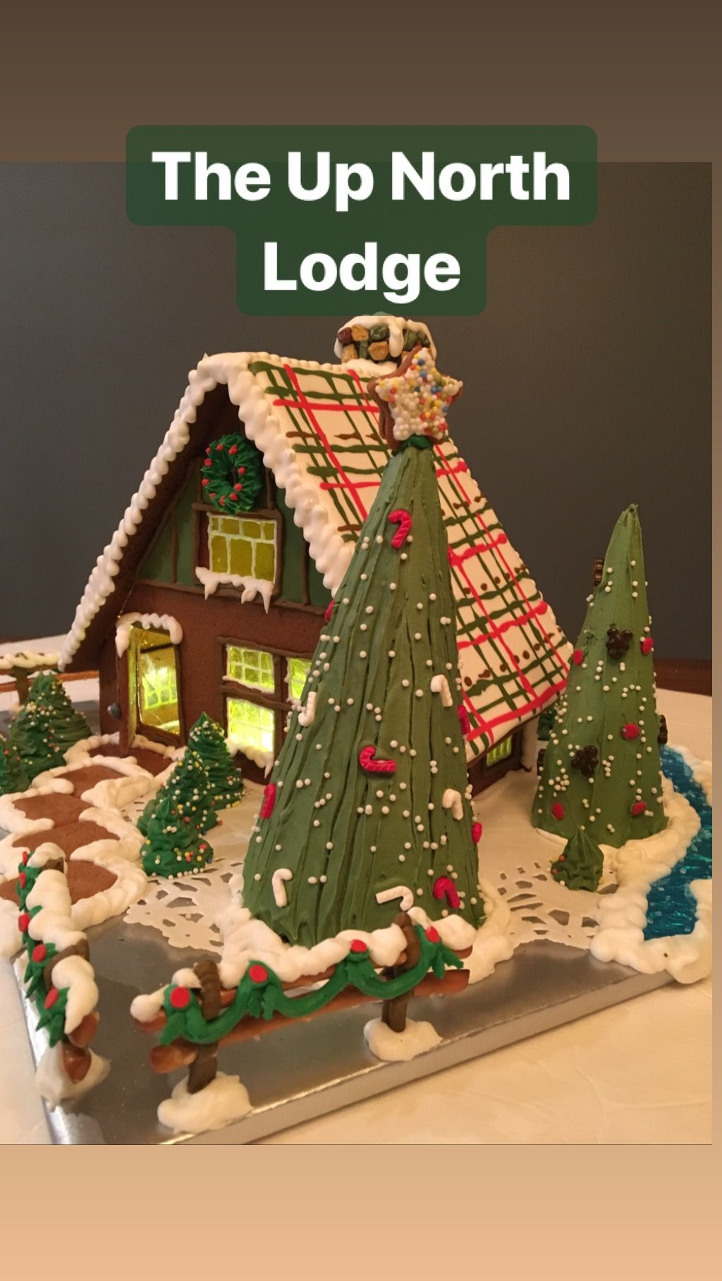 The Up North Lodge Gingerbread House With Flooded Royal Icing Roof With Plaid Desig Christmas Gingerbread House Gingerbread House Royal Icing Gingerbread House
