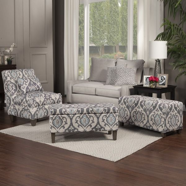 Best Homepop Blue Slate Large Accent Chair Grey Gray Fabric 400 x 300