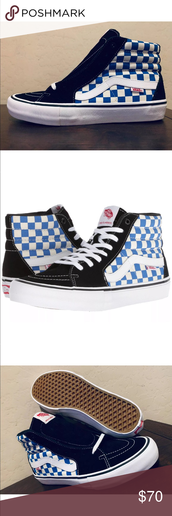 f110d13d3a Vans Men s Sk8-Hi Pro Ultracush Checkerboard NEW AUTHENTIC Vans Sk8-Hi PRO  SKATE COLOR CHECKERBOARD BLACK VICTORIA BLUE WHITE A performance update for  the ...