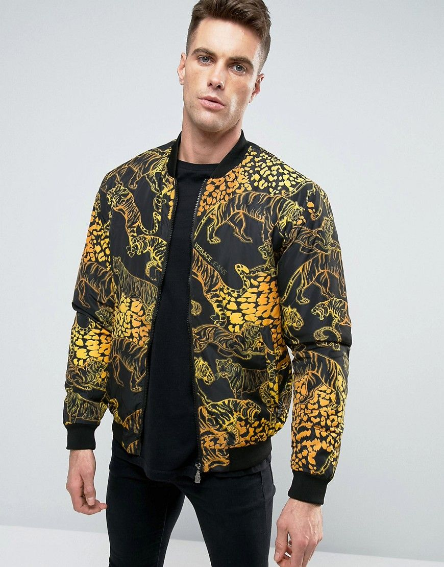 b3542a005a VERSACE JEANS BOMBER JACKET IN TIGER PRINT - BLACK. #versacejeans ...
