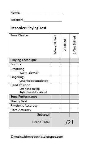 Recorder Playing Tests Music Assessments