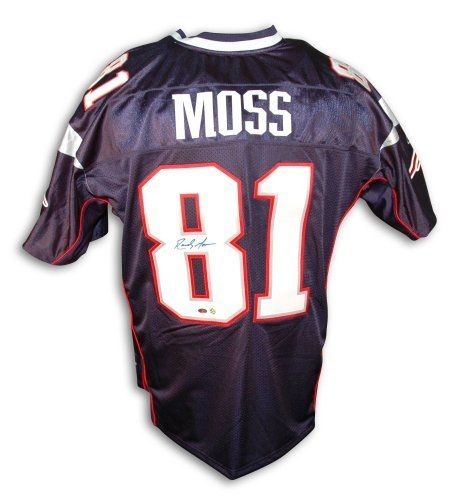 big sale a632e 96329 Randy Moss Autographed New England Patriots Blue Reebok ...