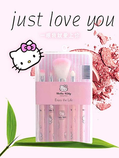 09d93bfe5 Cute Hello KItty 7PCS Makeup Brush Set Foundation Eyebrow Eyeliner Blush  Cosmetic Concealer Brushes Pink (Pink) | World of Hello Kitty