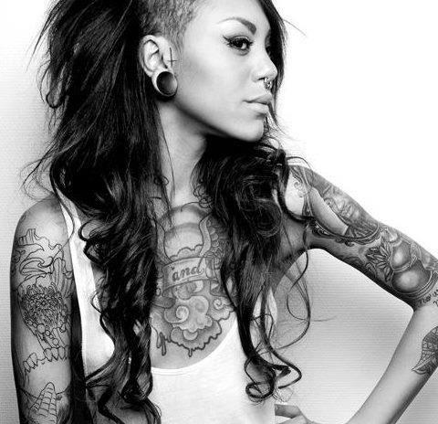 girl hair piercing sidecut fem ink piercings. Black Bedroom Furniture Sets. Home Design Ideas