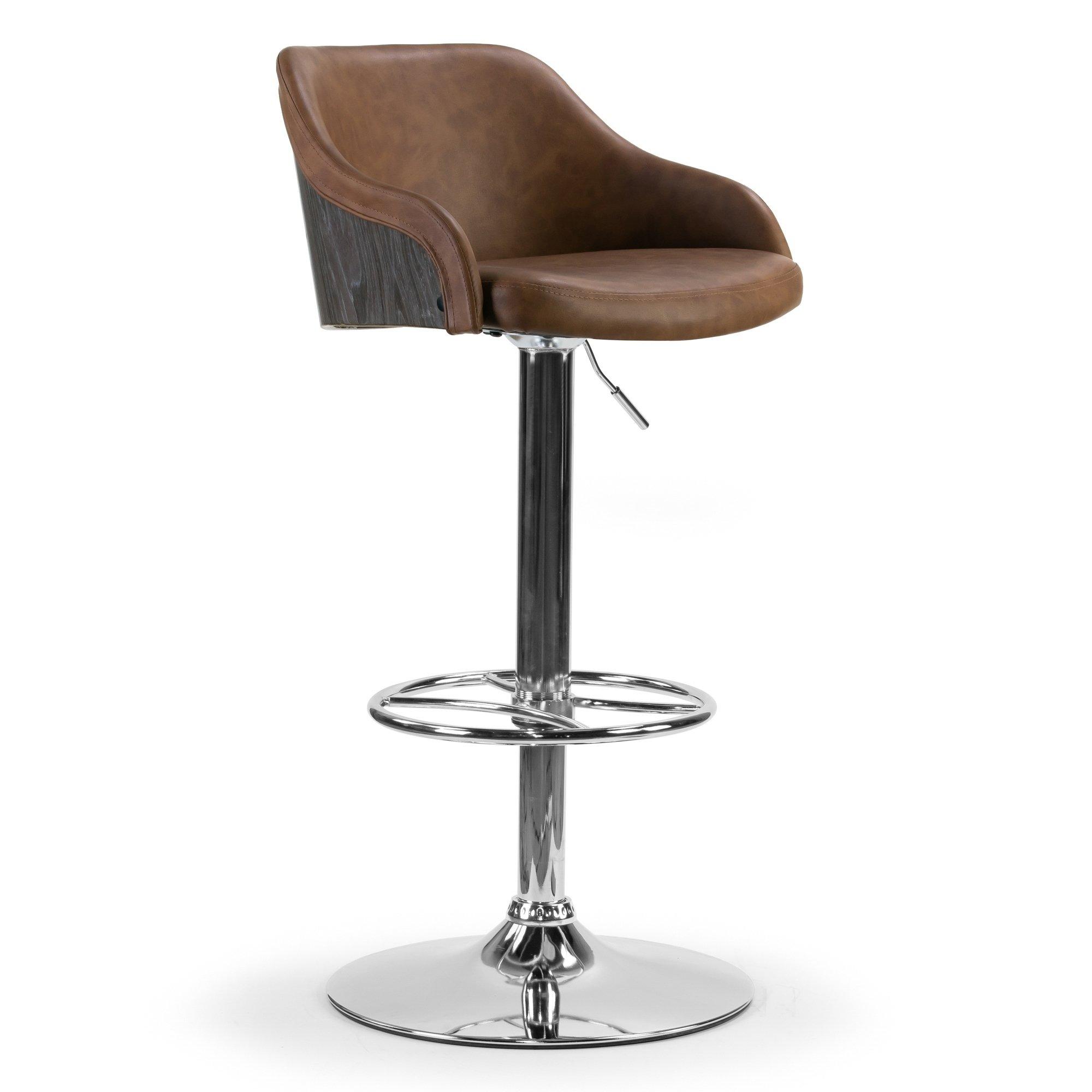 Strange Amada Grey And Brown Metal Upholstered Adjustable Height Ncnpc Chair Design For Home Ncnpcorg