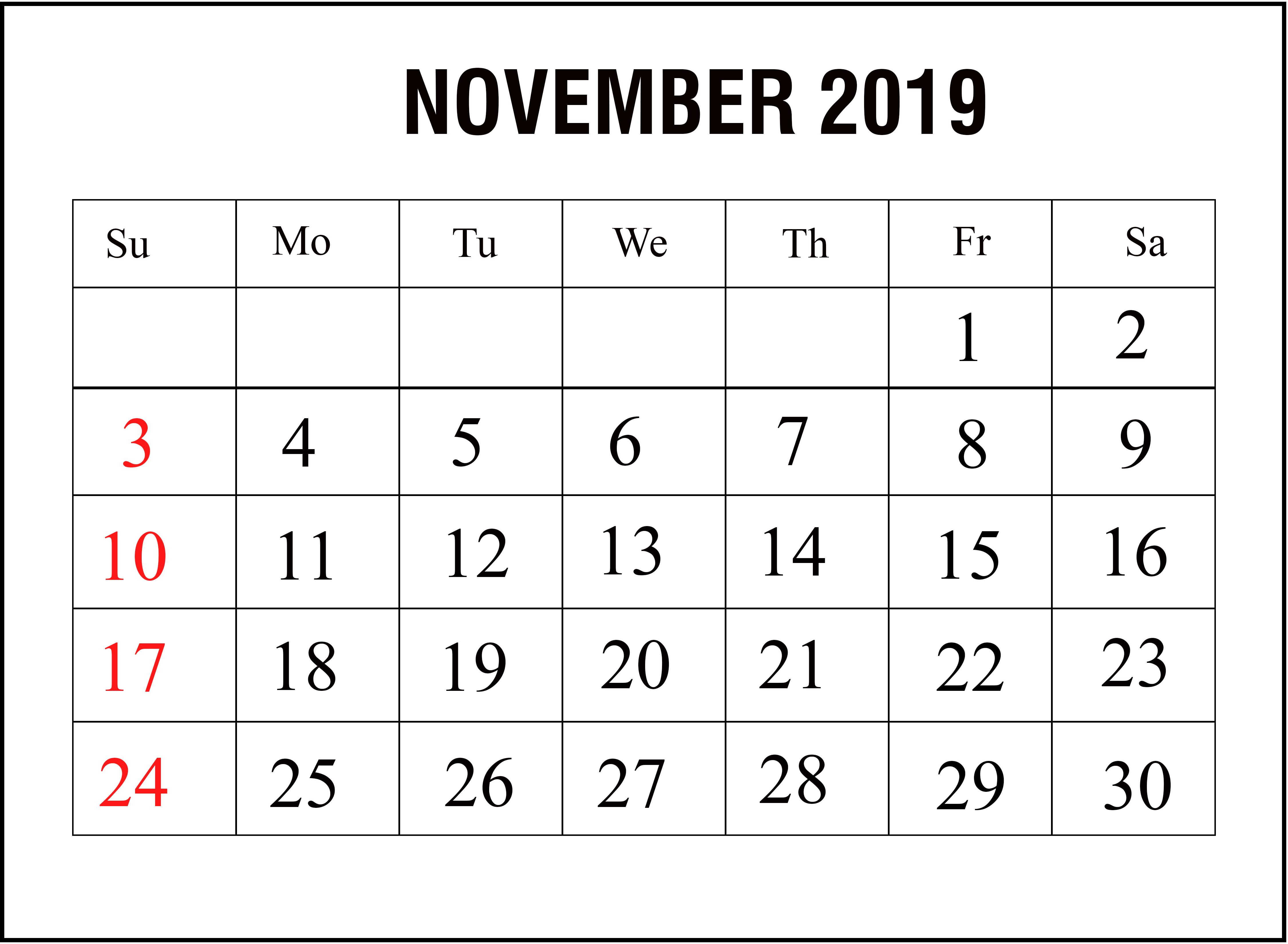 November 2019 Printable Calendar Template Calendar Printables Calendar Template Monthly Calendar Printable