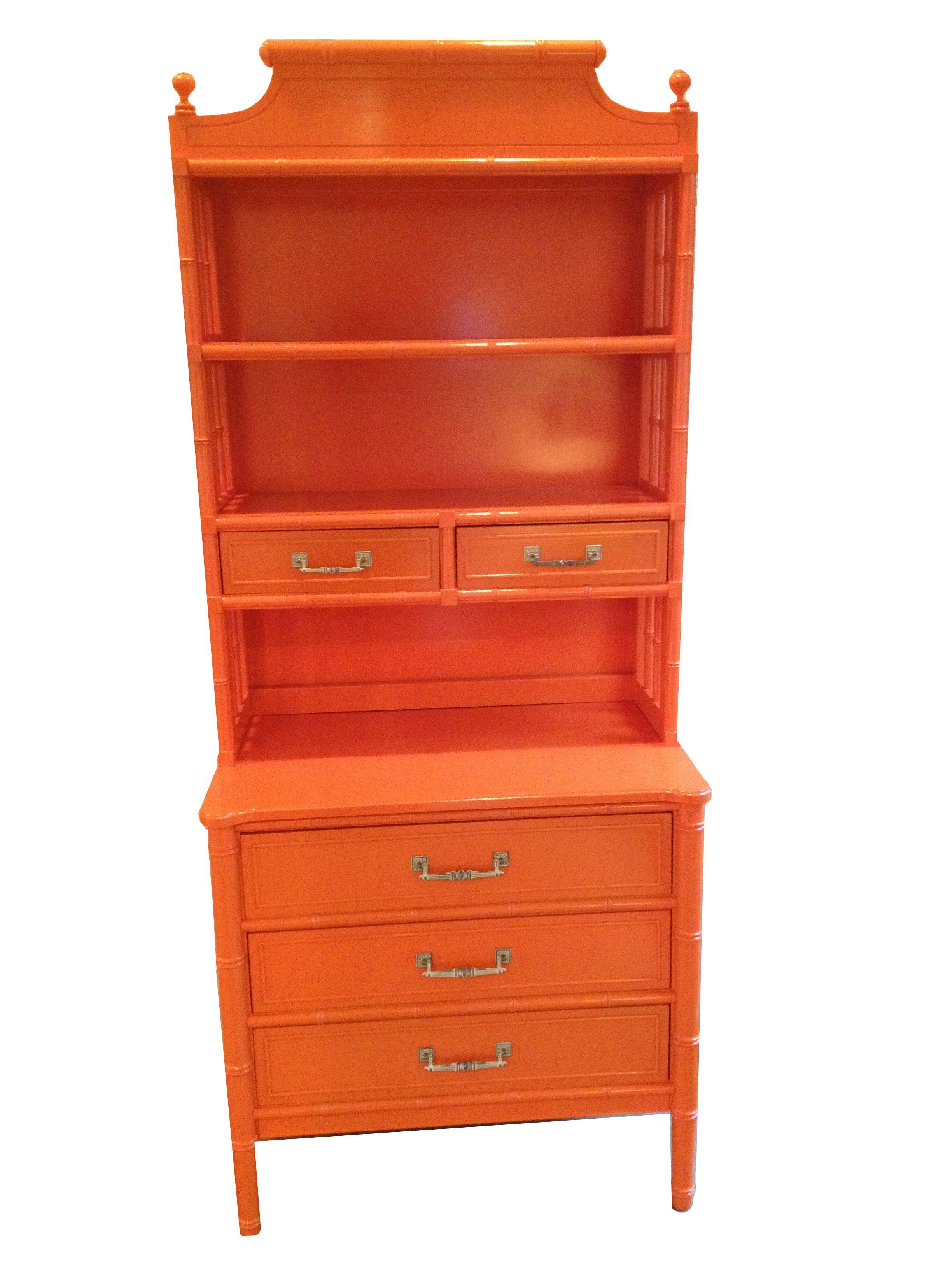 Thomasville Faux Bamboo Orange Lacquer Cabinet