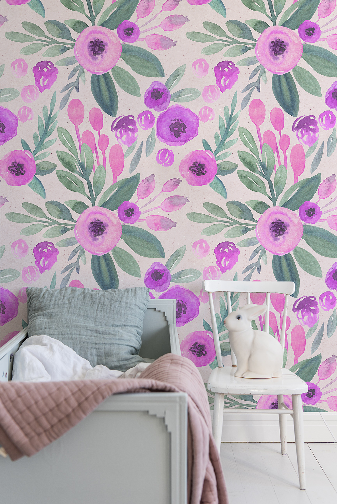 Watercolor Vintage Flowers removable wallpaper Pink