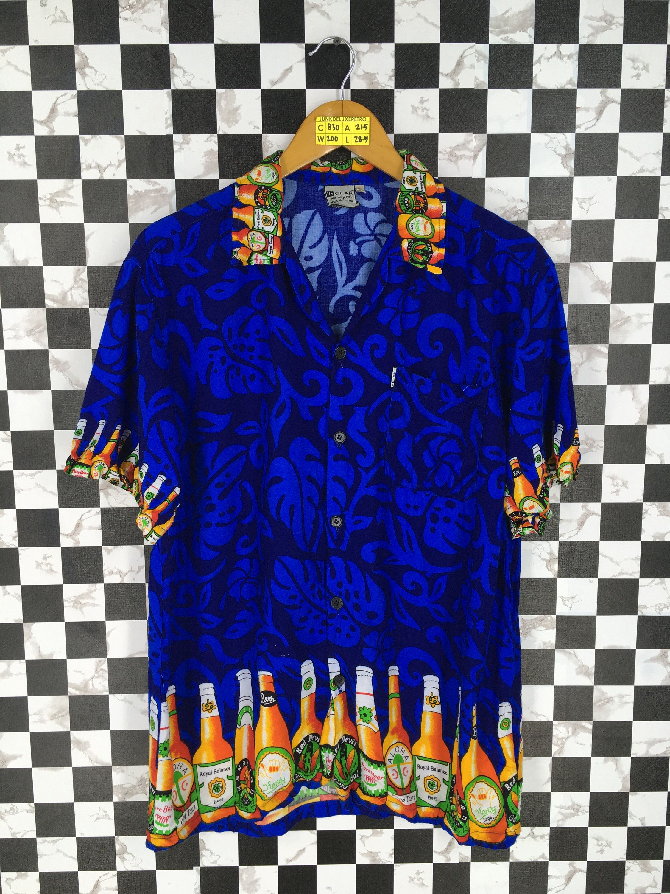 7b90af1f HAWAIIAN Shirt Unisex Large Vintage 1980s Hawaii Abstract Tequila Beach  Party Shirt Aloha Beach Blue Rayon Shirt Buttondown Size L by  JunkDeluxeRetro on ...