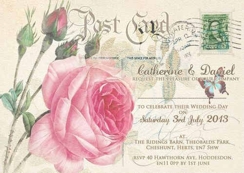 PERSONALISED SHABBY CHIC VINTAGE POSTCARD WEDDING INVITATIONS 10,25,50,100 | eBay